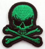 Skull and Crossbones - 'Green' Small Embroidered Patch